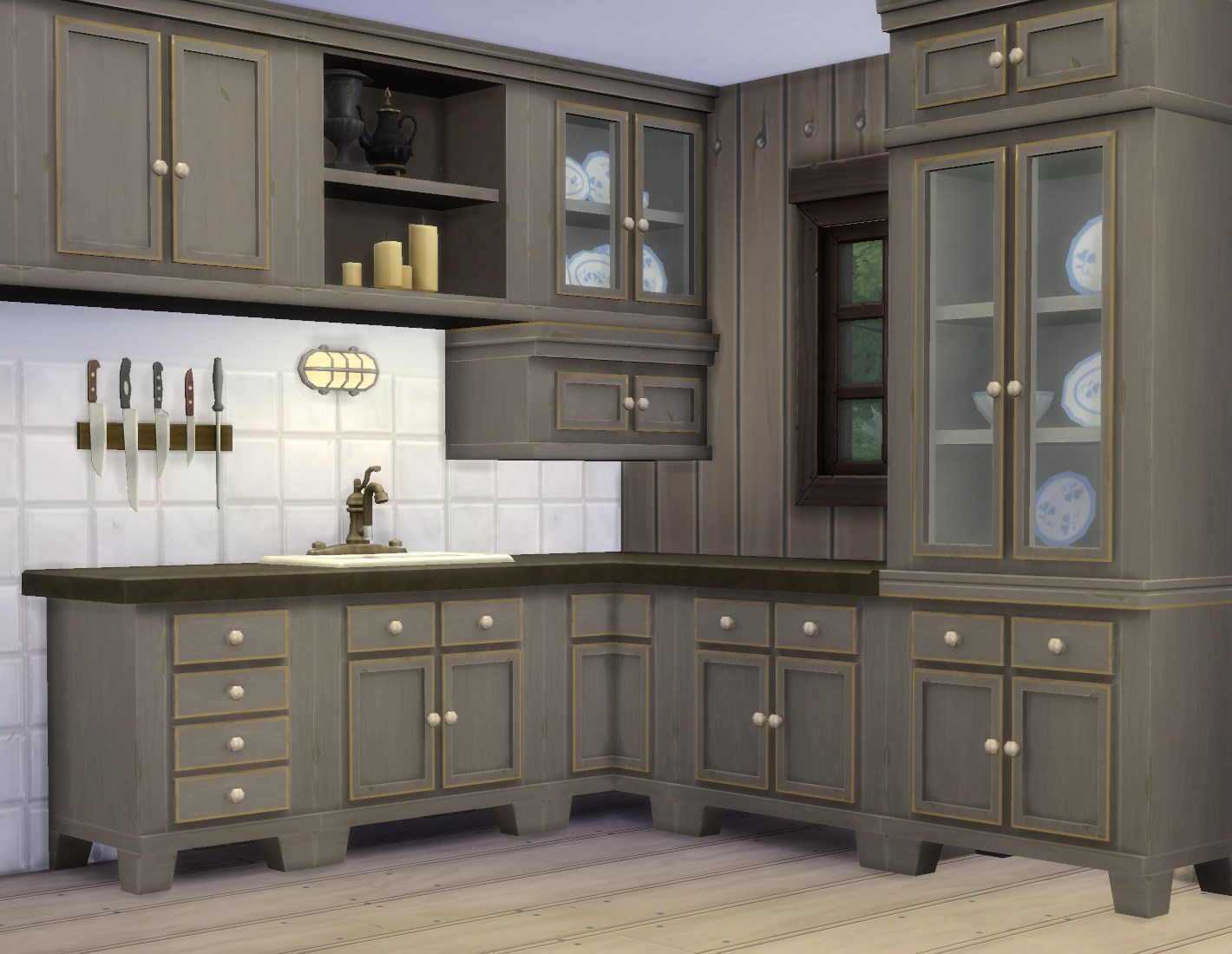 Mod the sims country kitchen for Cc kitchen cabinets