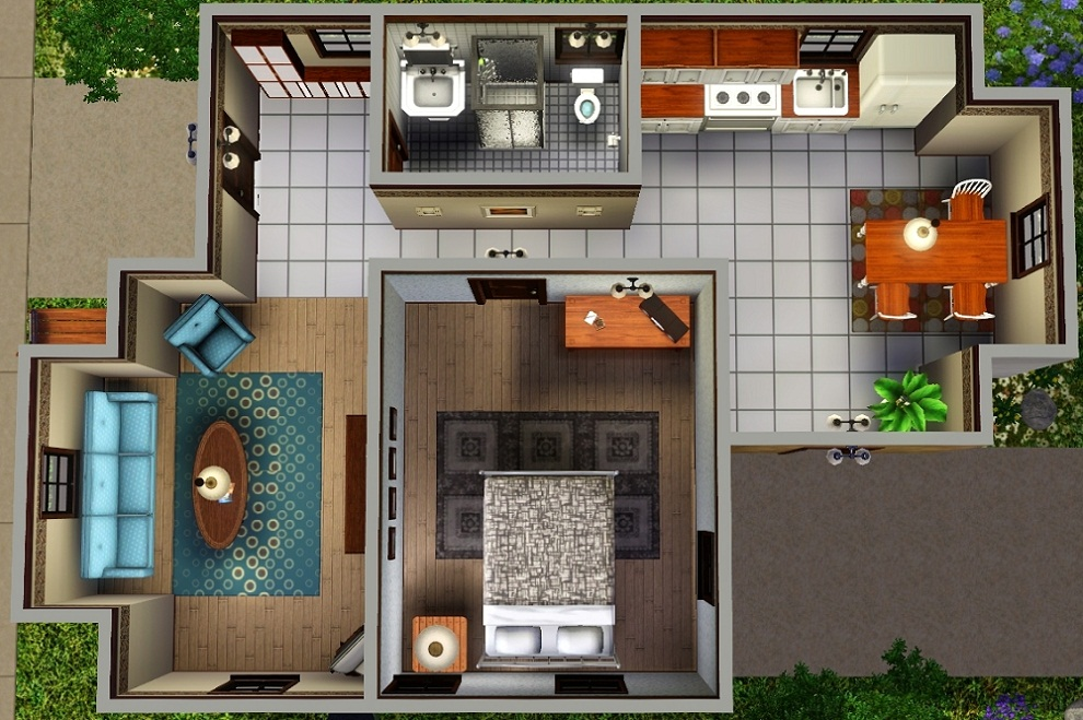 Mod the sims ledomus starter home plan 1 no cc for Small starter house plans