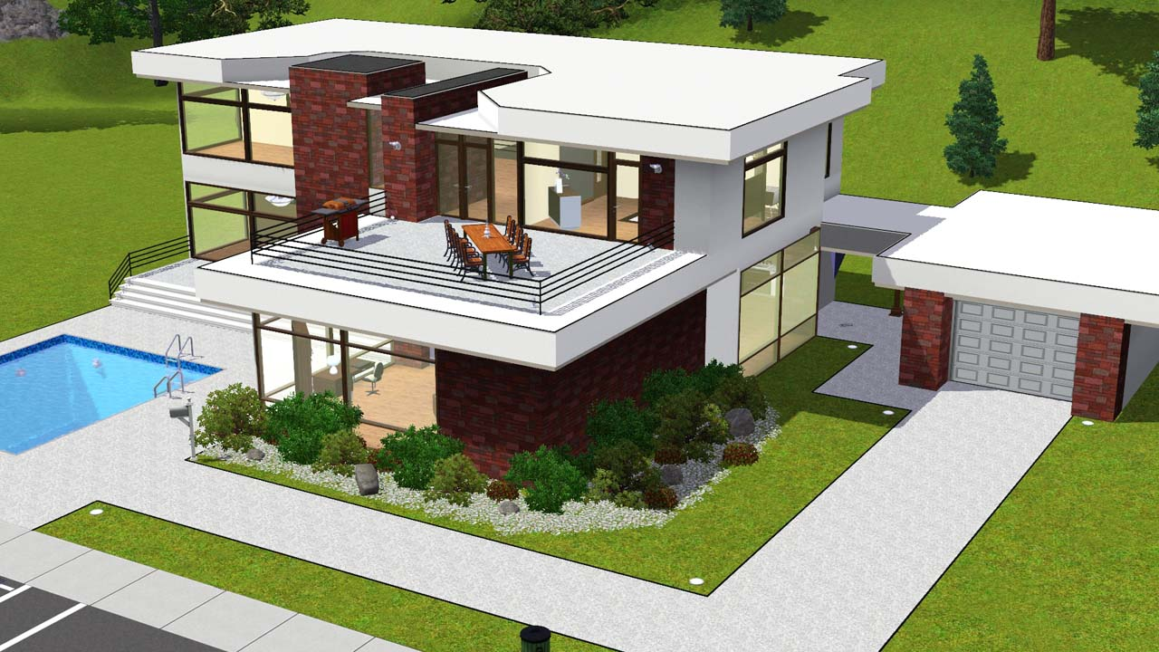 Mod the sims for Modern glass house floor plans