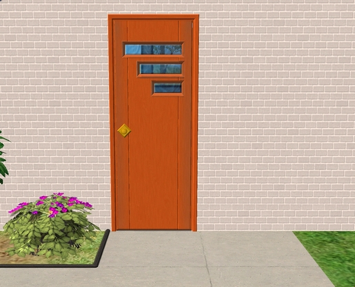 Mod the sims new mesh tresvisions retro front door for 1950s front door