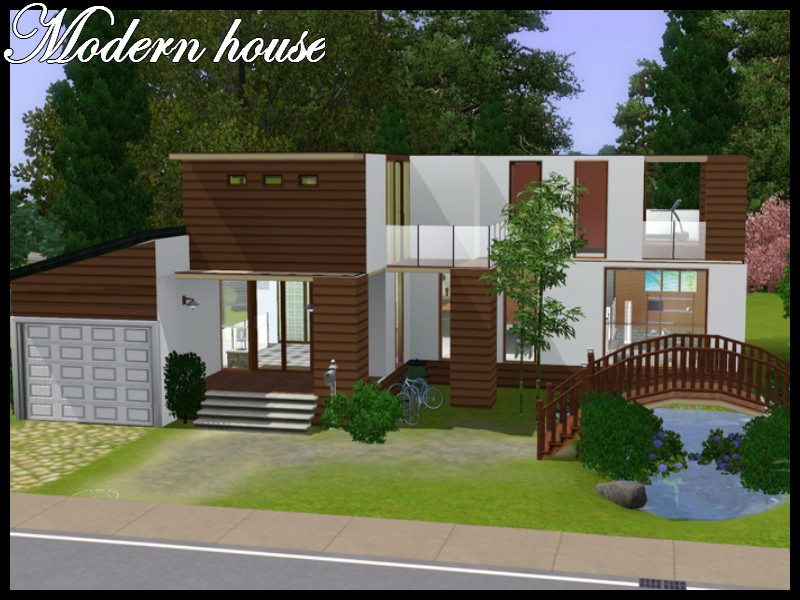 Mod the sims modern house with little bridge for Minimalist house sims 2