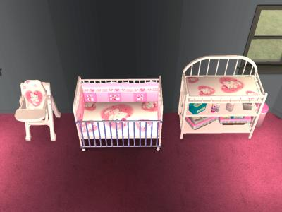 Mod the sims hello kitty nursery set for Chambre hello kitty