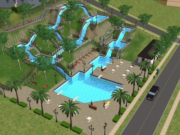 Mod the sims wet n wild water park slice of heaven for Pool design sims 3