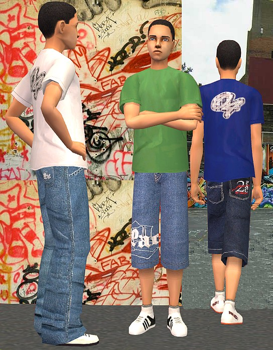 "Mod The Sims - 8 baggy ""Vokal Plaid"" shirts for teen boys"