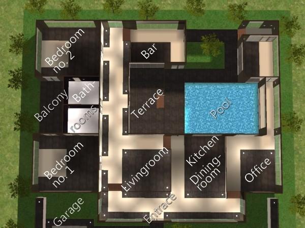 Mod the sims modern villa for Sims 3 salon moderne