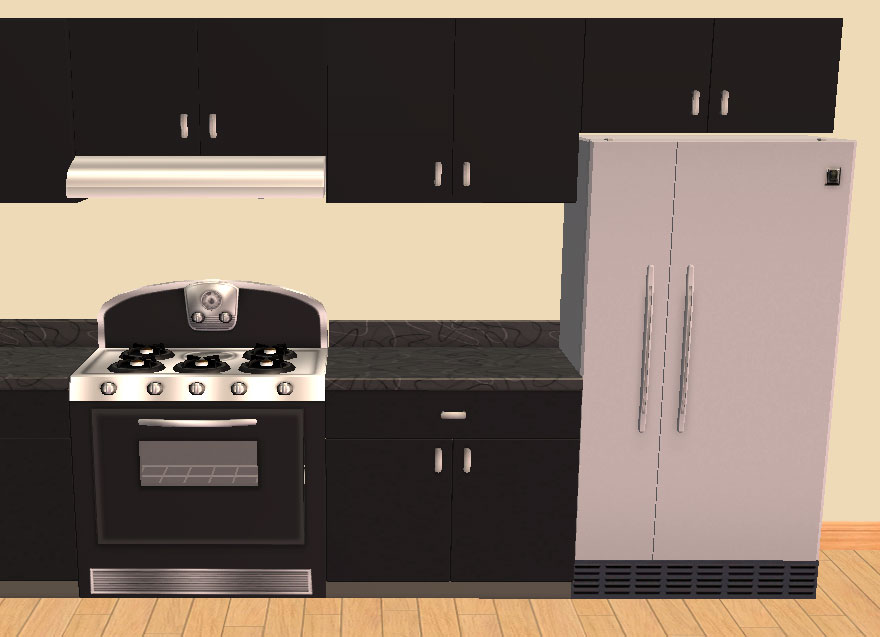 Mod The Sims Overhead Cabinets Over Fridge Cabinet