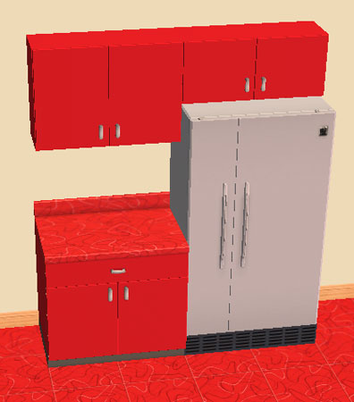 Mod the sims retro kitchen cabinets cherry red recolor for Cherry red kitchen cabinets