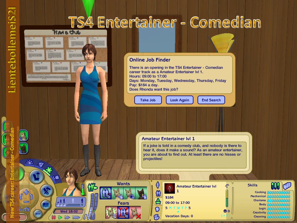 Mod The Sims - New TS4t2 career: Entertainer - Comedian (PTO+CC)