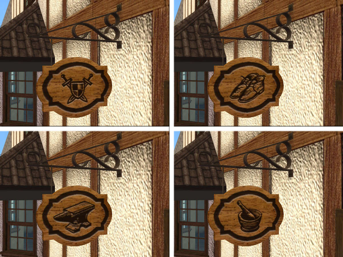 Mod the sims 55 medieval open closed hanging business for D sign shop