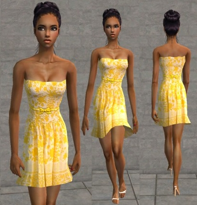 Mod The Sims - Yellow Strapless Sundress