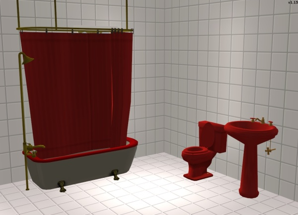 Mod The Sims - Maxis Matching Red Bathroom Set