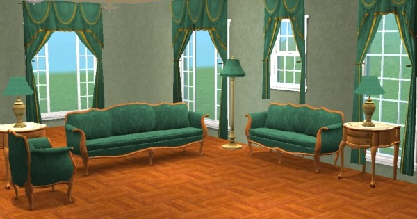mod the sims - green damask livingroom sets