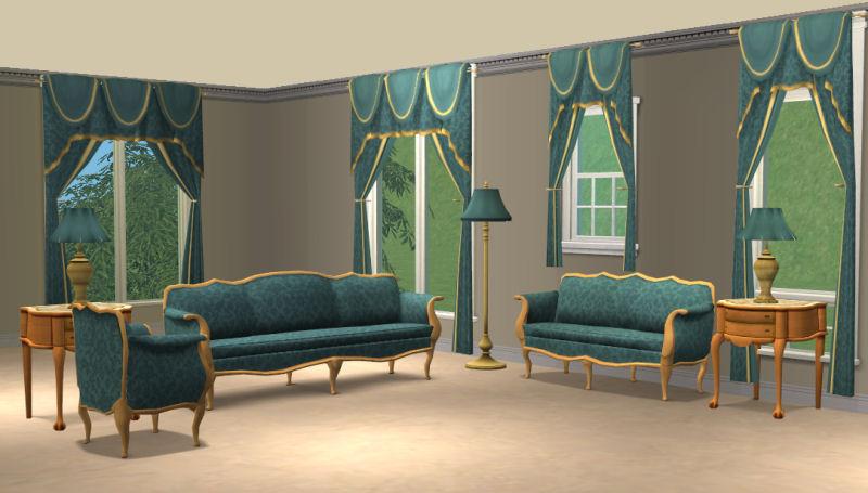 Mod The Sims - Blue Damask Livingroom Sets