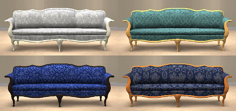Mod The Sims Blue Damask Livingroom Sets - Damask living room furniture