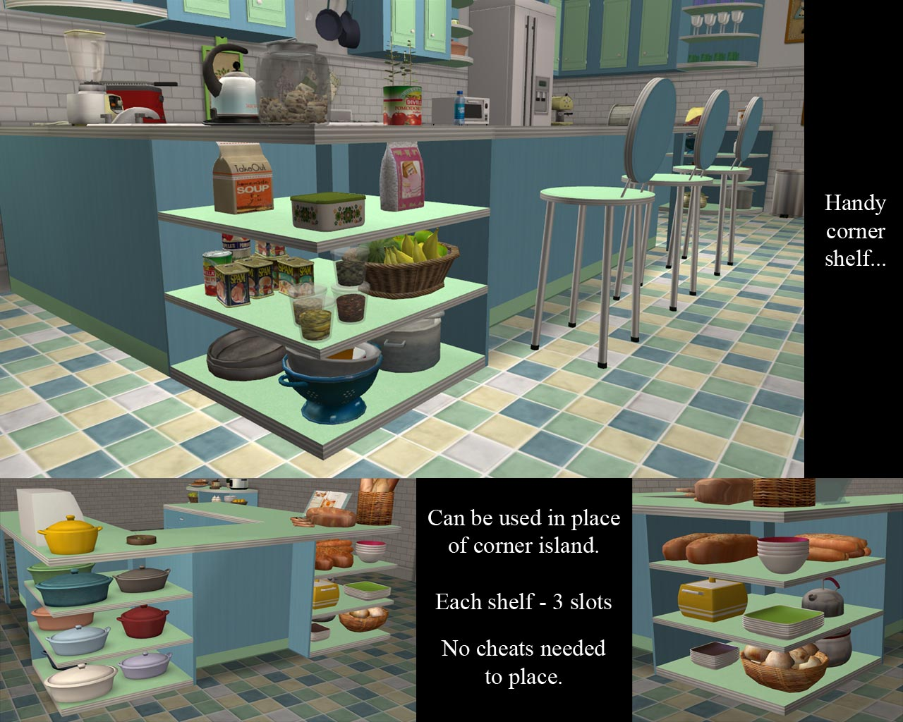 Mod the sims retro meets modern new kitchen meshes for Modern kitchen sims 3
