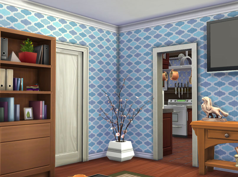 Wallpaper You Can Color mod the sims - updated - ornament wallpaper set - 6 colors
