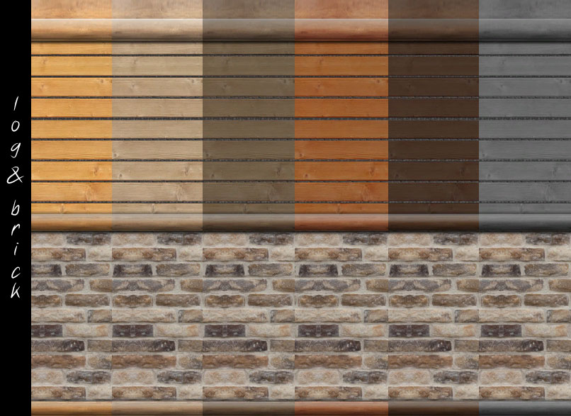 Mod the sims log cabin interior wall set 18 colors - Paint for exterior walls set ...
