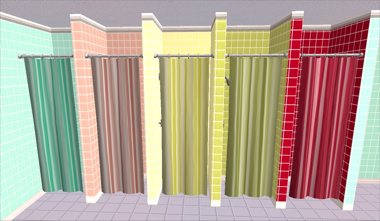 Mod The Sims Spots And Stripes Shower Curtains