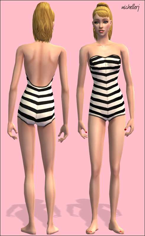 Mod The Sims Vintage Barbie Collection Striped Swimsuit