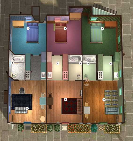 Mod the sims city box apartment lot for 3 door apartment floor plan