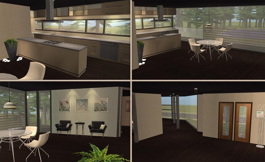 Mod the sims modern lake house basegame version for Modern kitchen sims 3