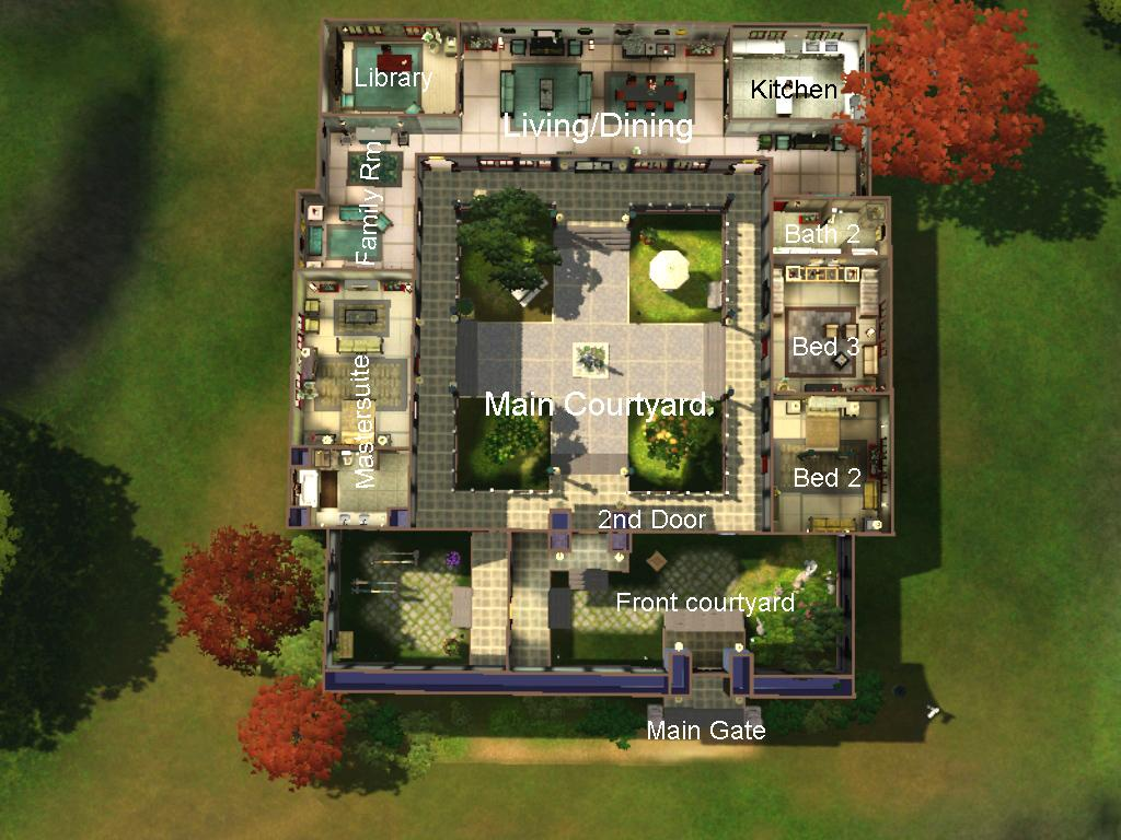 Mod the sims chinese courtyard house for Chinese house plans
