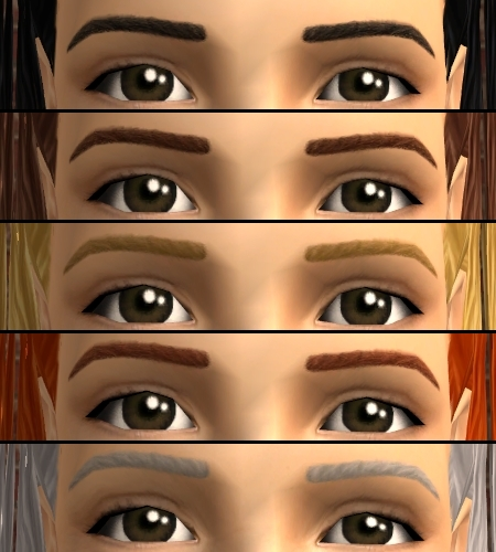 Mod The Sims - Maxis Match Thick Eyebrows (Binned & Default