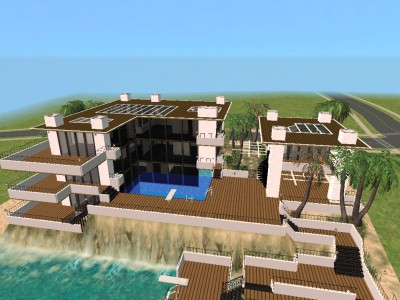 Mod the sims beach house with 2 story pool swimable beach for 2 story house with pool