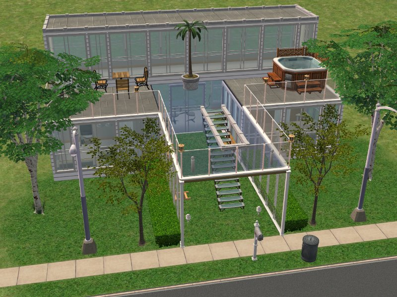 Mod The Sims Birch Street Modern Glass House Furnished