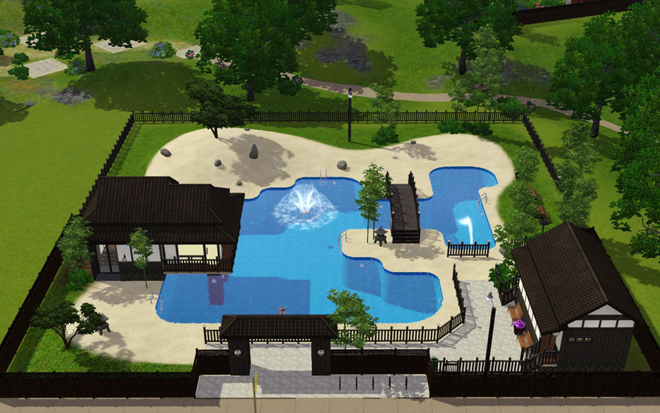 Mod the sims japanese style tourist spot public pool for Pool design sims 4