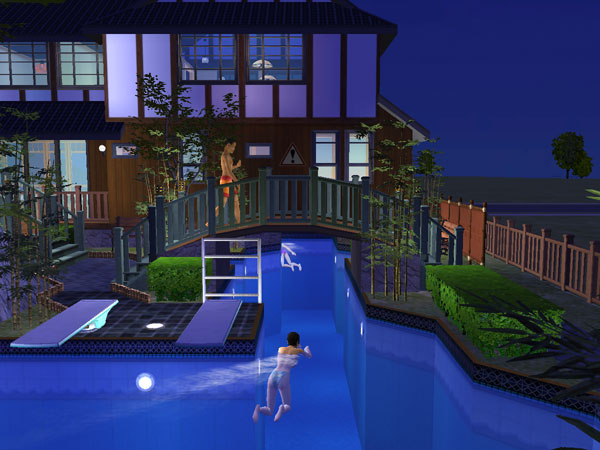 Mod the sims japanese style home business house for Pool design sims 3