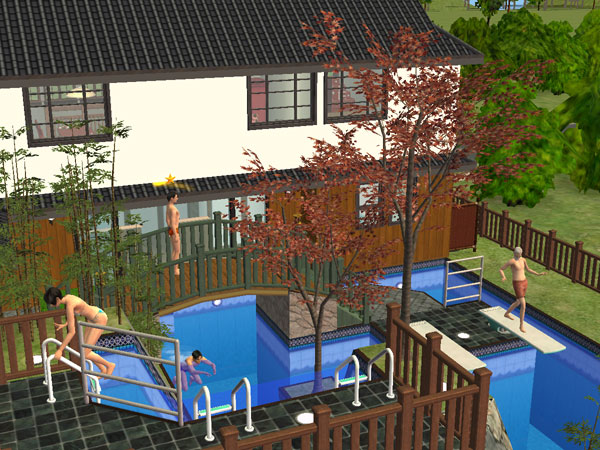 """Japanese Style Backyard mod the sims - japanese style home business house """"swimming pool 3"""""""