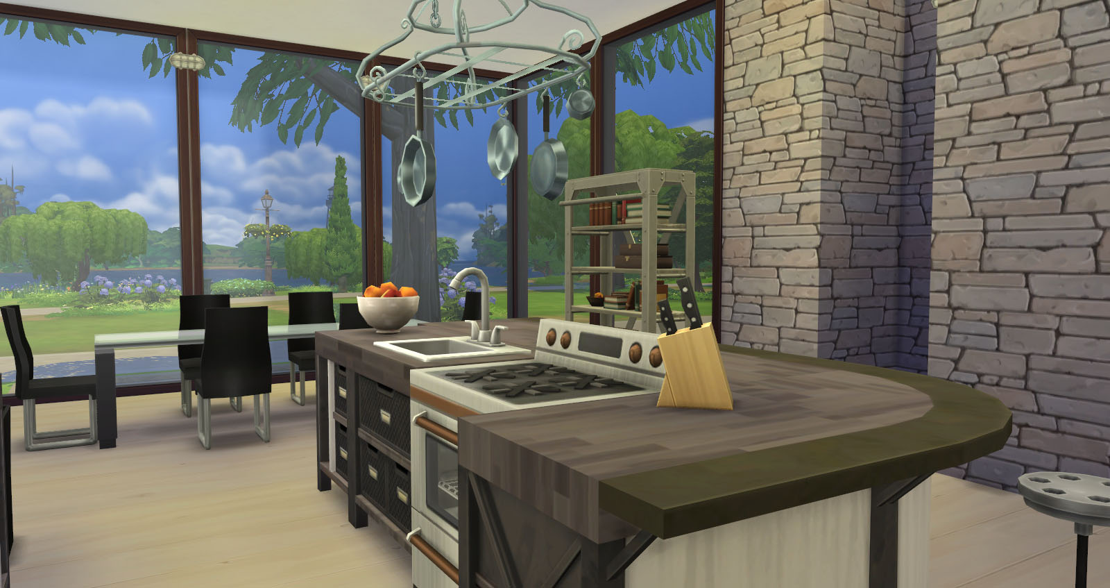 The Inside Is As Light An Airy You Can Get In Sims4 Without A Lighting Mod Kitchen Dining Similar To Midori Uchi Because That S My Favorite Out
