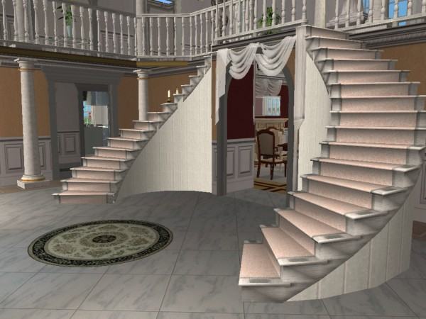 Mod the sims double curved staircase for Arched staircase