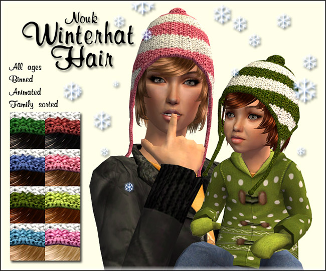 Mod The Sims - Nouk - Winter Hat Hair 8851a3b2817