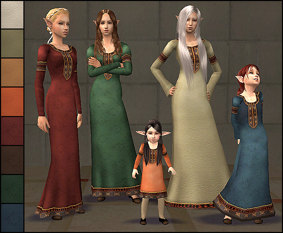 Mod The Sims Medieval Dress 2 Elder To Toddler