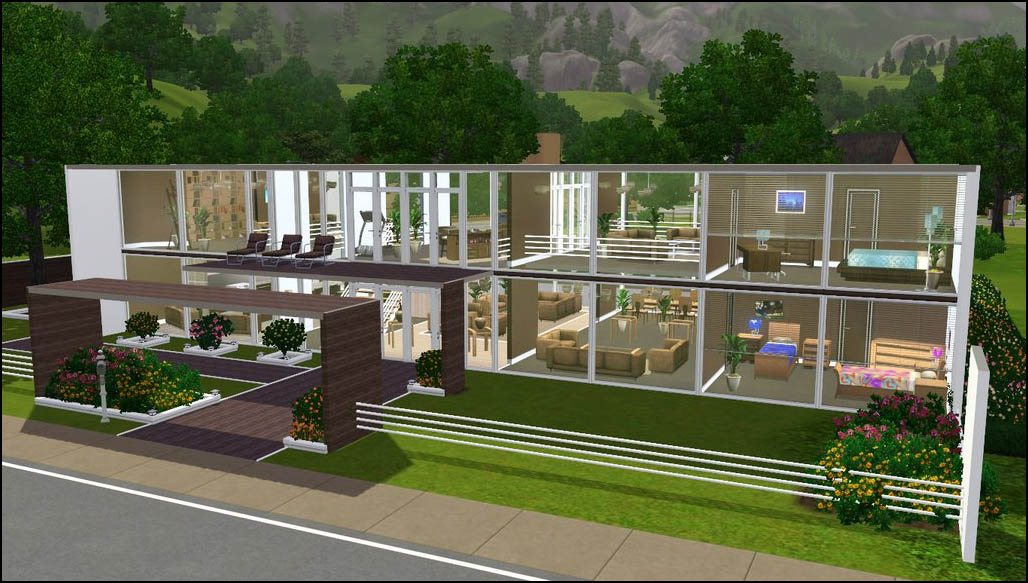 Mod the sims modern perspective open plan modern for Modern house design the sims 3