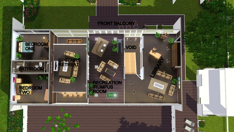 Mod The Sims Modern Perspective OpenPlan Modern Family Home