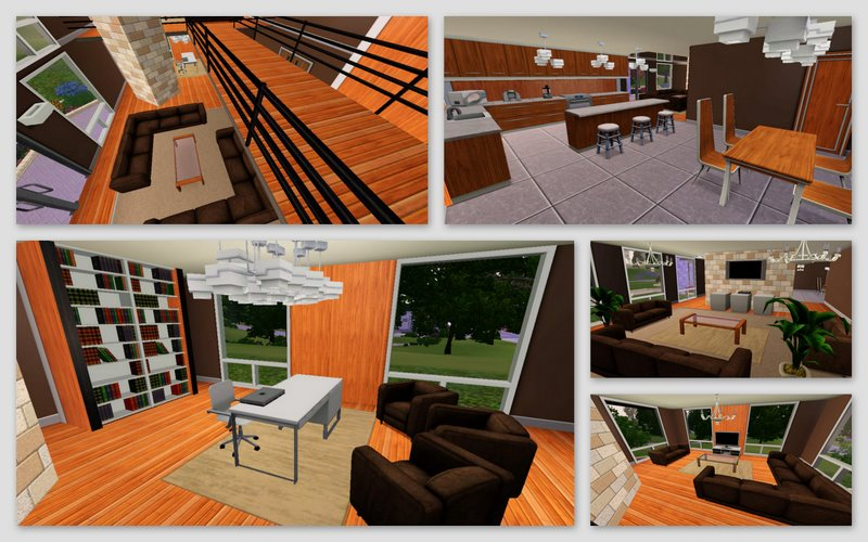 Mod the sims the chocolate designs a warm modern 2 for Bedroom designs middle class