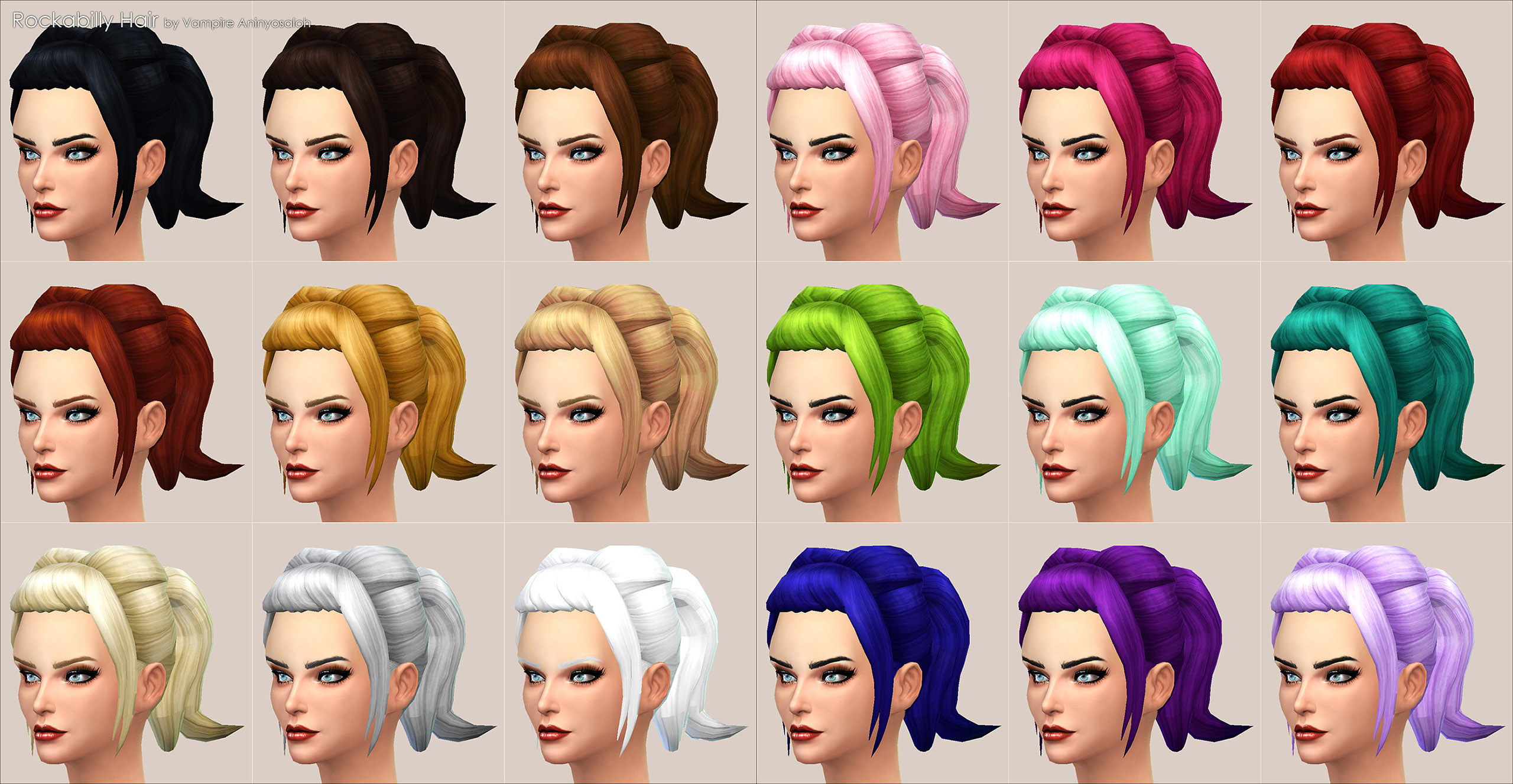 It s for female sims from teen to elder it s not a replacement  It comes  with a custom thumbnail to find it more easily. Mod The Sims   Rockabilly Hair  NEW MESH