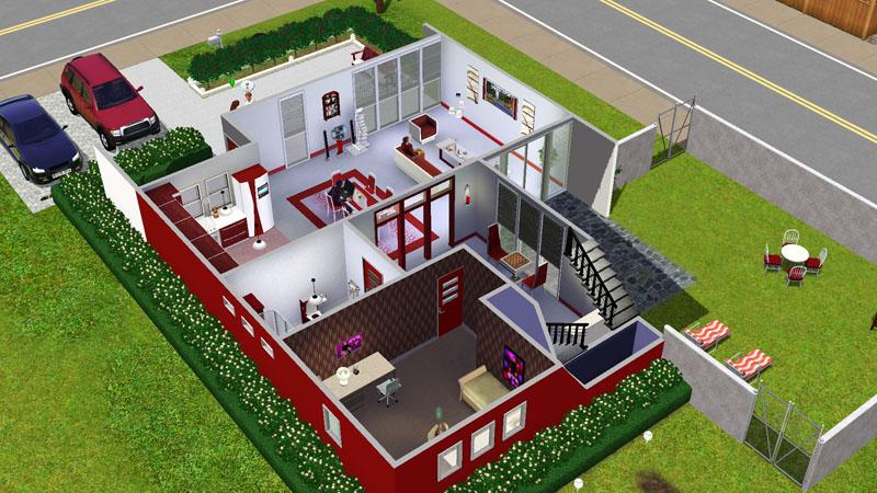 Mod the sims casa moderna rosso bigger non starter for Casa moderna sims 3 sin expansiones