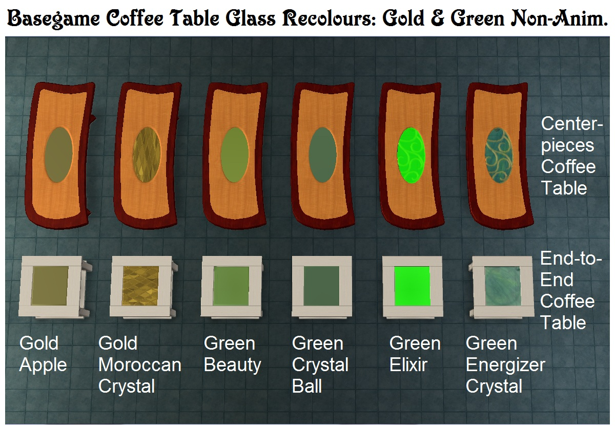 mod the sims - 140+ tiny filesize glass coffee table recolours
