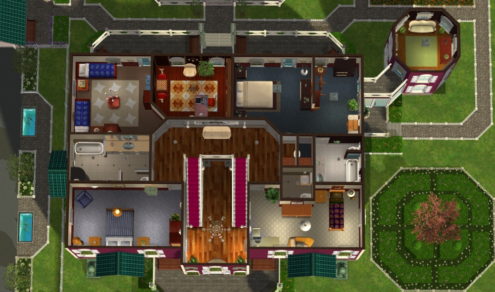 Mod the sims green hills mansion no cc for Mansion floor plans sims 4