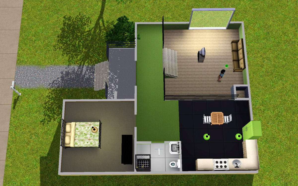 Mod the sims colourful split level starter home for Small starter house plans