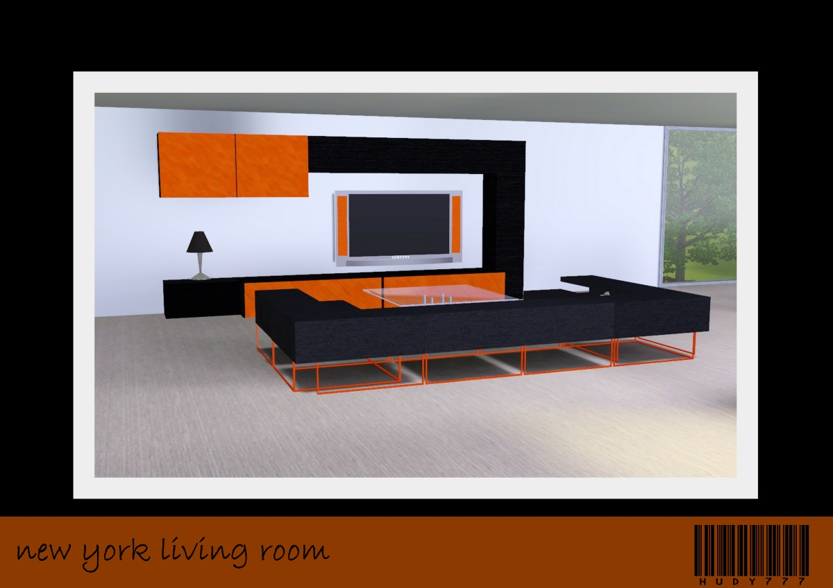 Mod the sims new york living room for Room decor sims 4