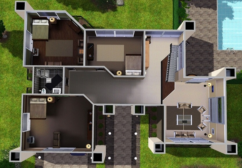House plans and design modern house plans sims 4 for Pool design sims 3