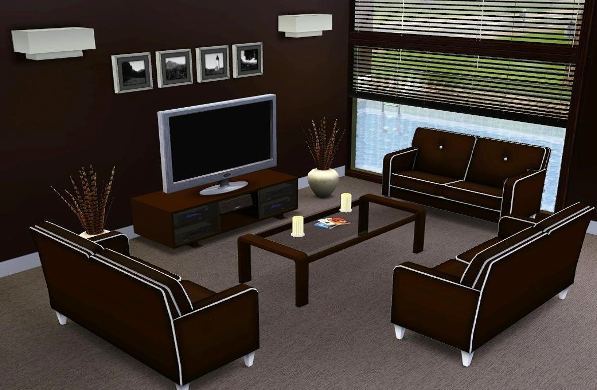 Mod the sims modern abode for Modern living room sims 4