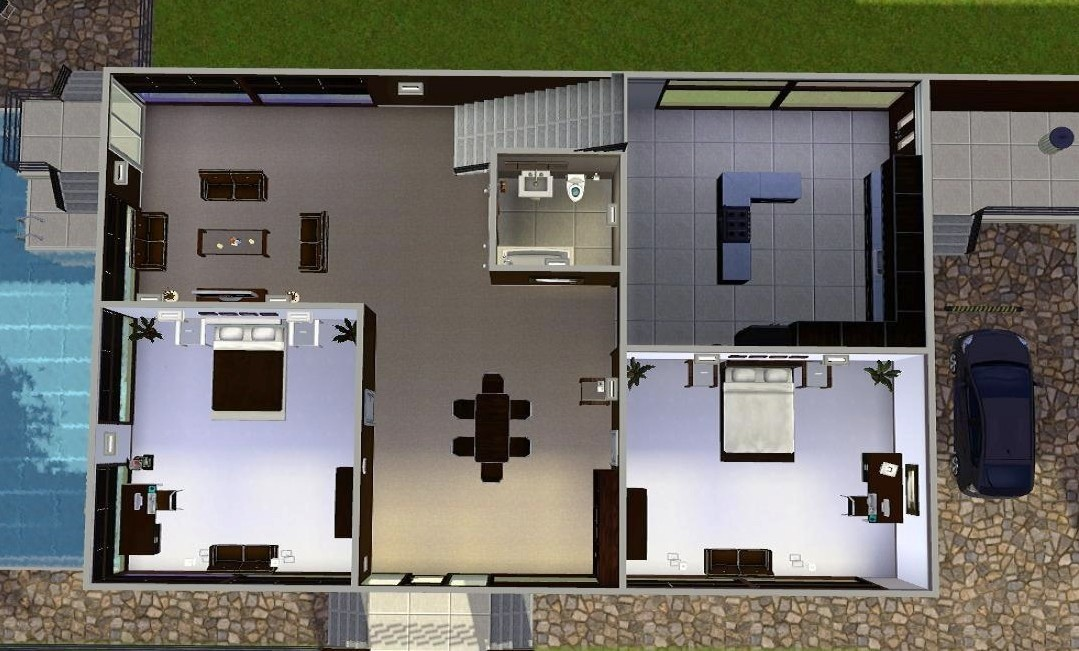 Mod the sims modern abode for Sims 4 floor plans