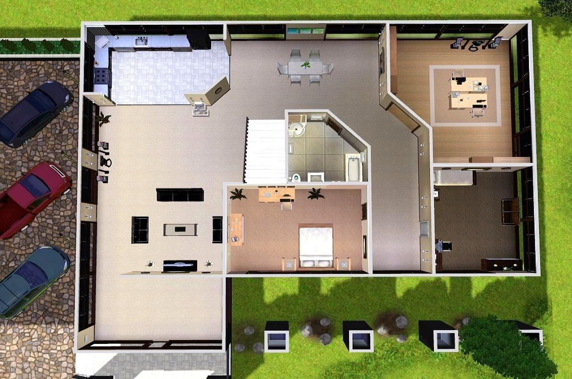 Mod the sims modern estate for Modern house layout plan