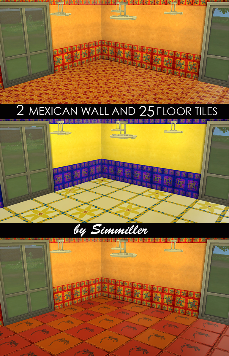 Mod The Sims - 2 Mexican Walls and 25 Floors Set by Request